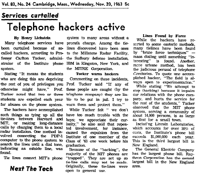Scan of 1963 MIT Paper where 'hacker' was 1st used